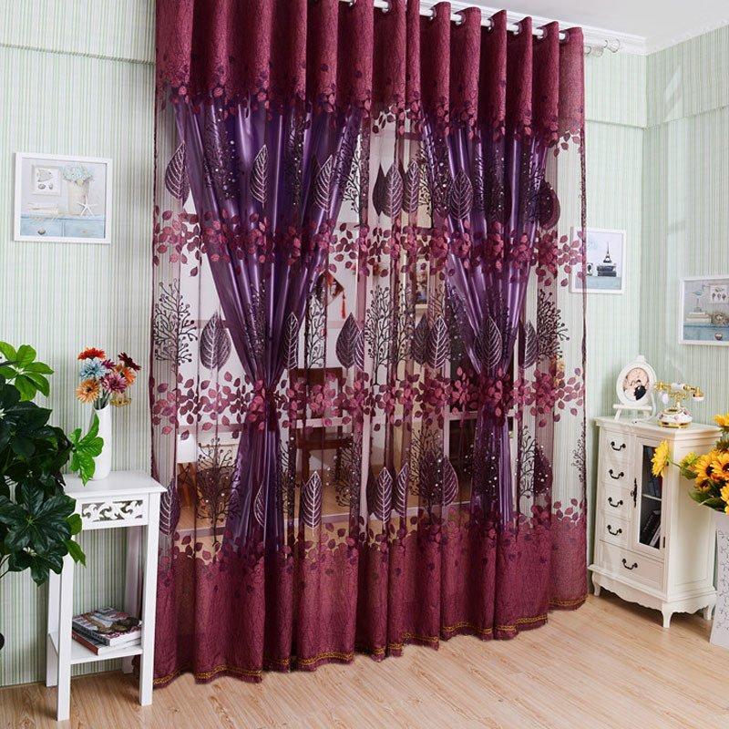 【Crystalawaking】Luxurious Upscale Jacquard Yarn Curtains dark purple (Intl)