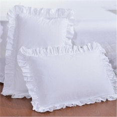 Hình ảnh LZ Pillowcase Single Cotton Pure White Fungus Edge Minimalist Textile50*75 Pillow Case Textile Special - intl