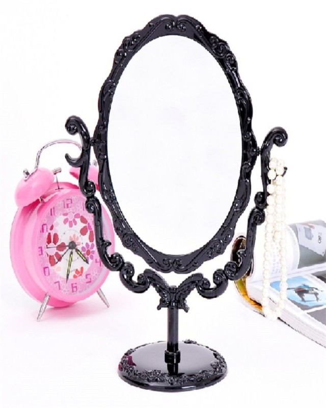 Makeup Desktop Rotatable Gothic Small Size Rose Stand Compact Mirror Black Butterfly,Black - intl