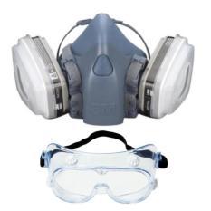Mặt nạ lọc độc chuyên dụng 7502 đầy đủ cho ngành Công Nghiệp Hoá Chất Bộ 8 Chi Tiết Gồm 1 mặt nạ 7502 + 2 phin lọc 6001 + 2 màng lọc 5N11 + 2 nắp nhựa chống ố + TẶNG Kính bảo hộ 3M