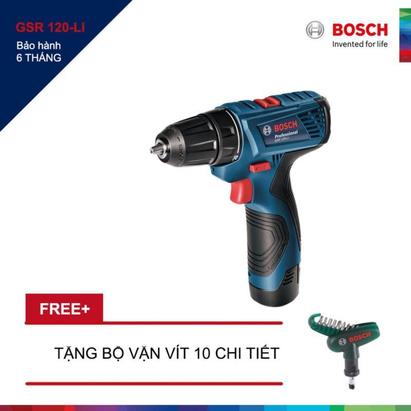 Máy khoan vặn vít dùng pin GSR 120 LI (Xanh) + Tặng bộ mũi vặn vít 10 chi tiết Bosch