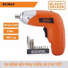 Máy vặn vít dùng pin Black & Decker KC3610 Ni-Cd 3.6V/0.6Ah 3Nm đi kèm bộ phụ kiện 10 chi tiết