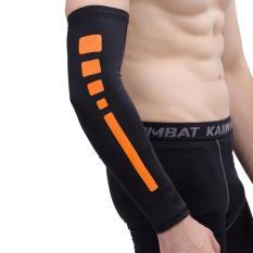 Hình ảnh Men Outdoor Sports Elastic Breathable Anti-skid Elbow Arm Sleeve UV Protective Gear, Size: XL (Black) - intl