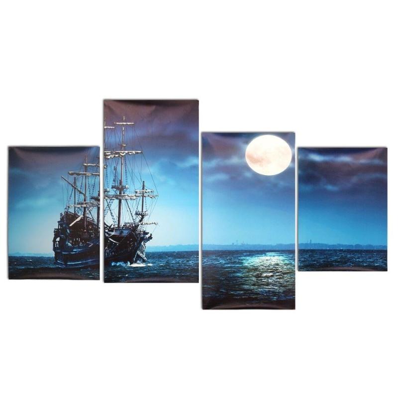 Hiện đại 4 cái Tranh Canvas Biển Tàu In Hình Nhà Nghệ thuật treo Tường Trang Trí Không Gọng-quốc tế