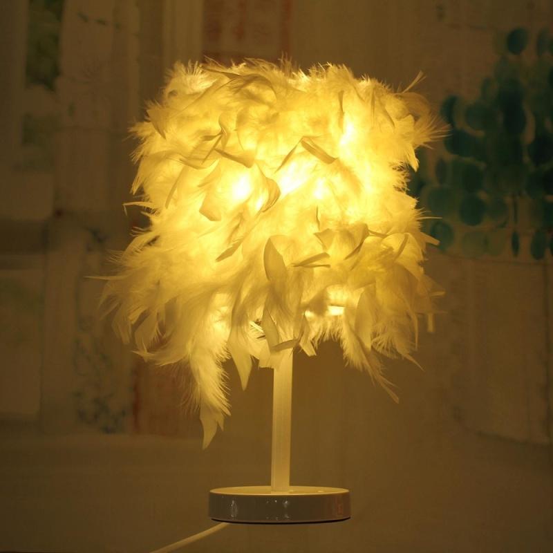 Hiện đại Lông Bóng Bàn Để Bàn Đèn Chiếu Sáng LED Phòng Ngủ Văn Phòng-intl