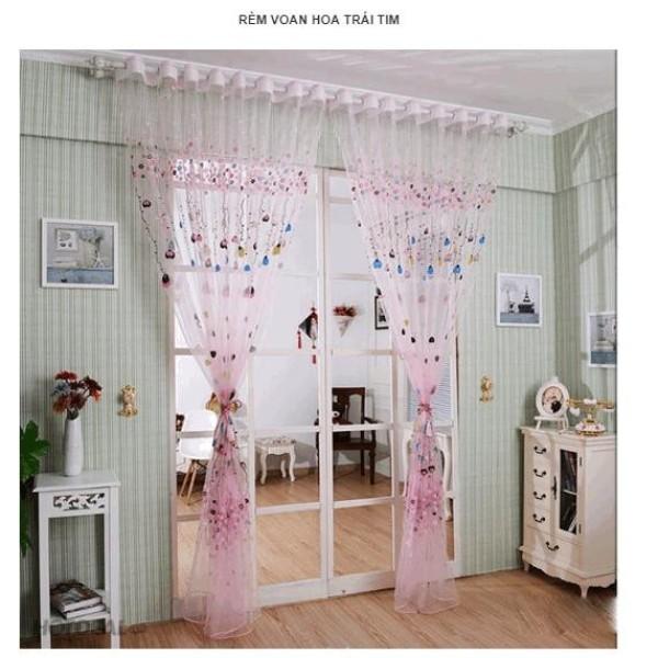 Một tấm rèm Voan Hoa Trái Tim- màu hồng (1mx2m)