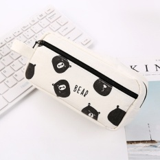 Hình ảnh MStore Korea Creative Naughty Bear Pencil Large Capacity Minimalist Blackand White Print Pencil Case Female Student Storage Stationery Bagpencil Case - intl