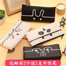 Hình ảnh MStore Korean Studen Stationery Bags Creative Minimalist Cute Cartoon Animal Large Capacity Jelly Plastic Pencil Case School Pencil Box - intl