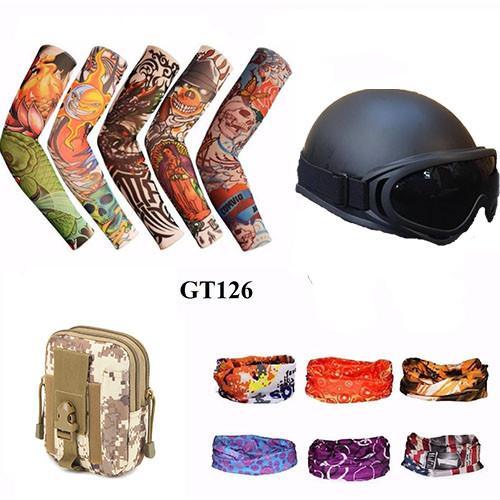 Mũ bảo hiểm 1/2 + Găng tay hình xăm + Túi đeo hông+ Khăn phượt màu  (Đen)