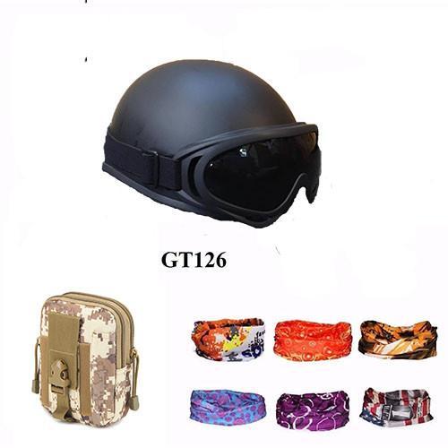 Hình ảnh Mũ Bảo Hiểm 1/2 + Túi Đeo Hông + Khăn Phượt (Đen)