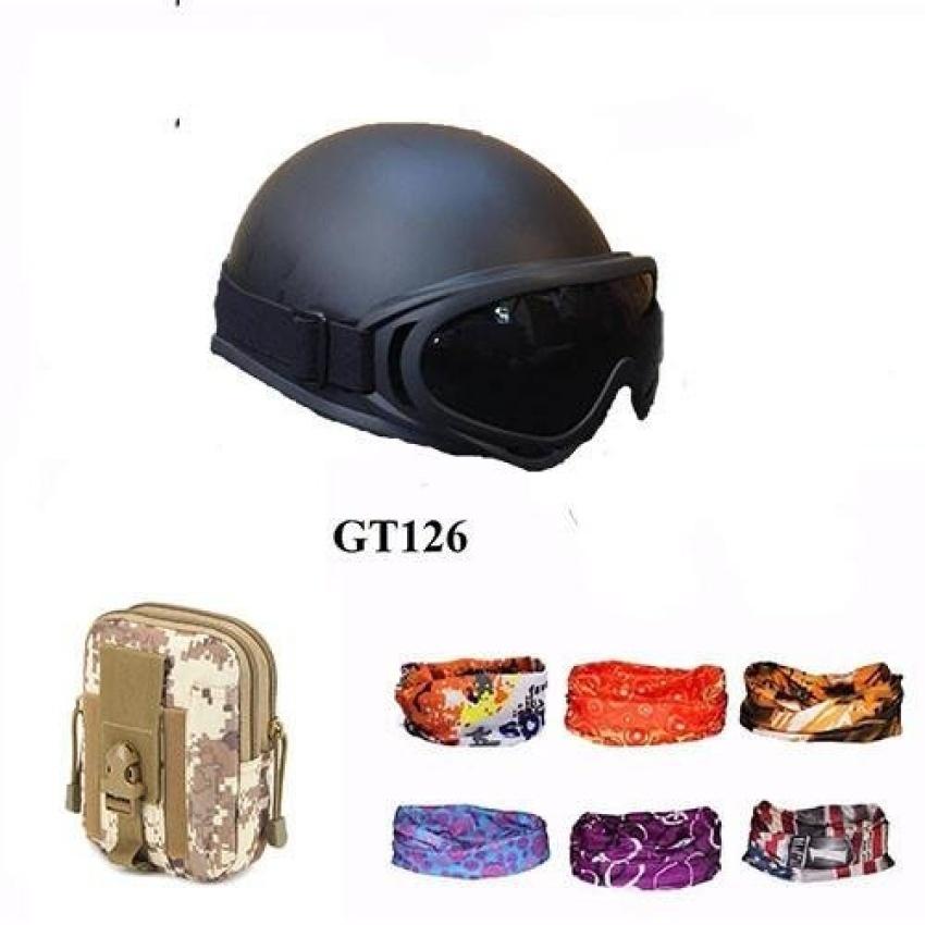 Hình ảnh Mũ bảo hiểm 1/2 + Túi đeo hông + Khăn phượt (Màu ngẫu nhiên)
