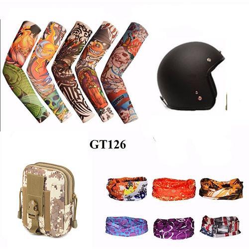 Mũ bảo hiểm 3/4 + Găng tay hình xăm + Túi đeo hông+ Khăn phượt màu  (Đen)
