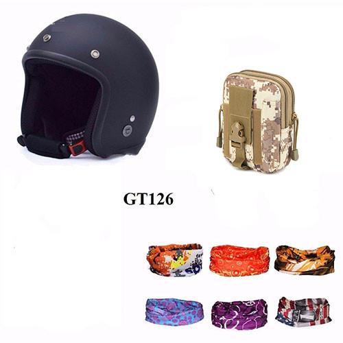 Mũ bảo hiểm 3/4 + Túi đeo hông + Khăn phượt  (Đen)