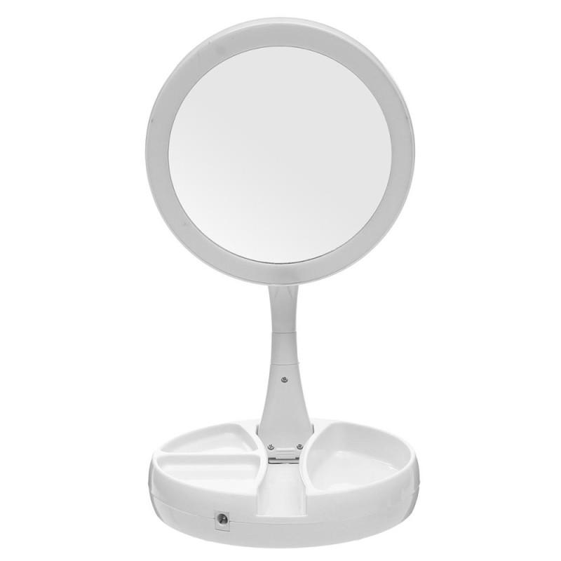 Tôi Gấp Gọn Cất Đi Gương ĐÈN LED-chiếu sáng 2 Mặt 10x độ phóng đại Gương Trang Điểm-quốc tế