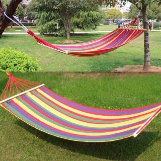 New Canvas Fabric Double Spreader Bar Hammock Outdoor Camping Swing Hanging Bed - intl thumbnail