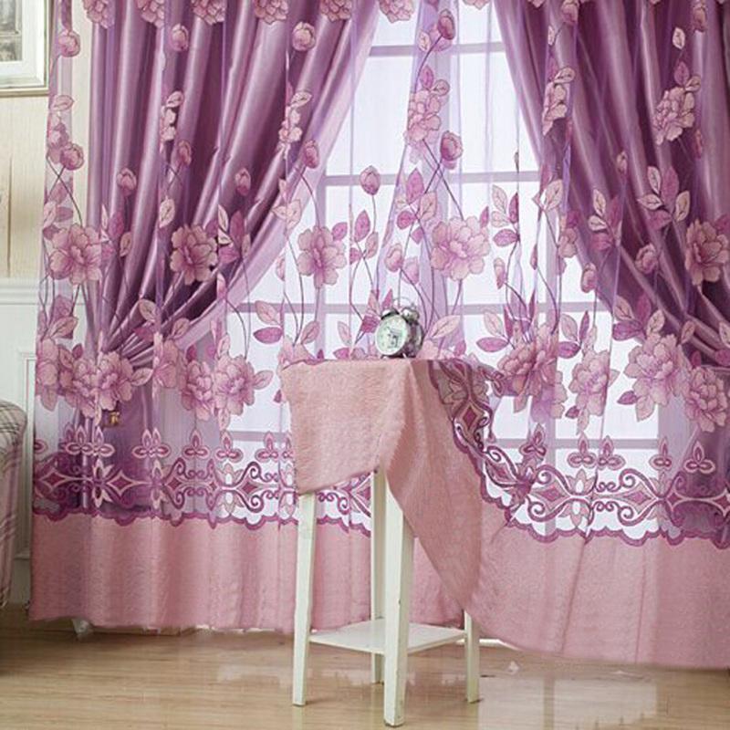 【Crystalawaking】Rèm treo cửa sổ trang trí bằng vải tuyn_Màu tím nhạt