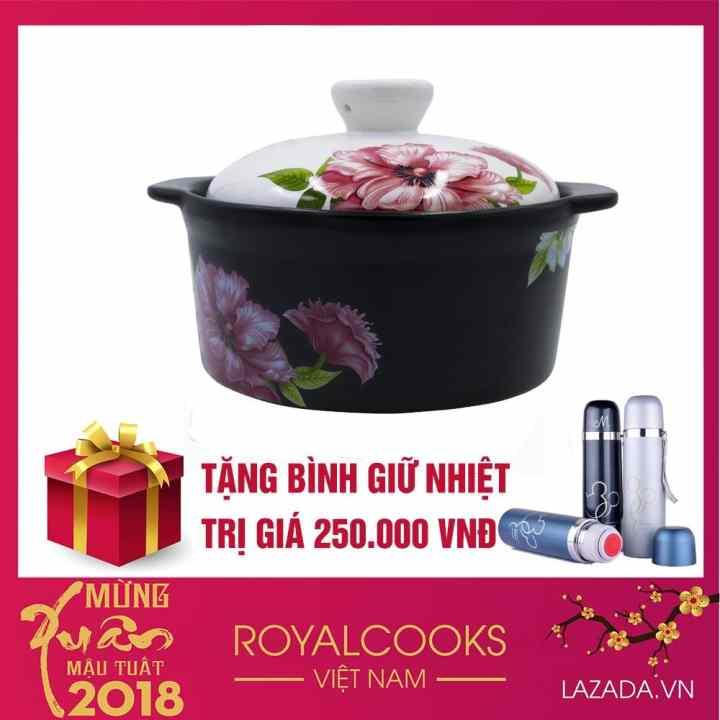 Nồi gốm sứ xuất khẩu Royalcooks 1.3L ( nắp trắng hoa)