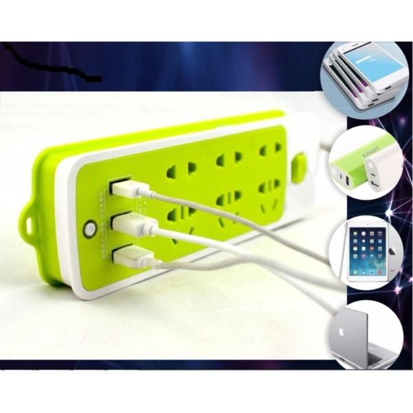 Bảng giá Ổ cắm điện kiêm sạc điện thoại (6 phích cắm, 3 cổng USB)