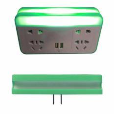 Hình ảnh Ổ cắm điện quang kiêm giá để điện thoại và đèn ngủ cảm biến 3 trong 1(Xanh cốm)