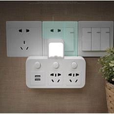 Ổ cắm điện thông minh 2 ổ cắm và 2 ổ cắm sạc USB kiêm đèn ngủ LED chống sét cao cấp mới nhất 2018