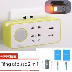 Hình ảnh Ổ cắm điện thông minh kiêm đèn ngủ LED + tặng dây cáp sạc 2 in 1 cho mọi thiết bị