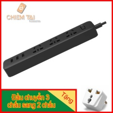 Ổ cắm Xiaomi Mi Power Strip tích hợp cổng USB (màu đen) + Tặng đầu chuyển 3 chấu sang 2 chấu