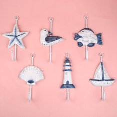 Hình ảnh Ocean Sea Sailing Boat Starfish Beacon Home Decor Bathroom Wall Hanger Hook - intl