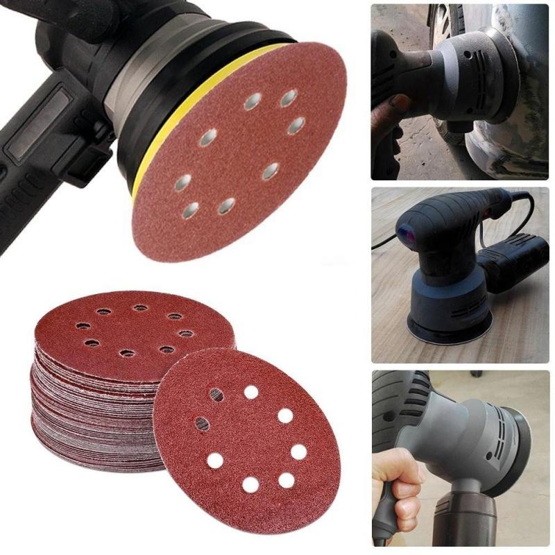 Opkmc 100 cái Quỹ Đạo Chà Nhám Đĩa 5 inch 8 Lỗ Dustless Hook-and-Loop Nhám Giấy Cho Công Suất Ngẫu Nhiên Quỹ Đạo Sanders-quốc tế