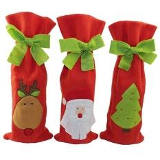 Hình ảnh Opkmc Chai Rượu Có Giáng Sinh Rượu Tặng Giá Đỡ Ông Già Noel Giáng Sinh Trang Trí Bộ 3, 11.8x5.9 inch-quốc tế