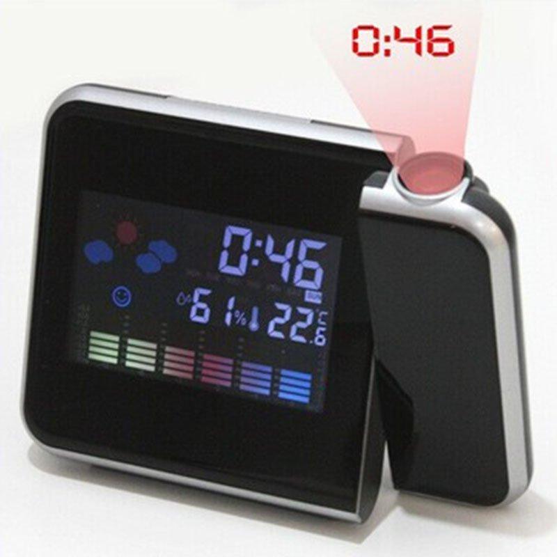 Chiếu Kỹ Thuật Số Thời Tiết MÀN HÌNH LCD Báo Lại Đồng Hồ Báo Thức Màu w/ĐÈN Nền LED-quốc tế bán chạy