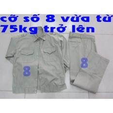 Bộ quần áo bảo hộ lao động màu ghi - Size 8 (Vừa từ 75kg trở lên)