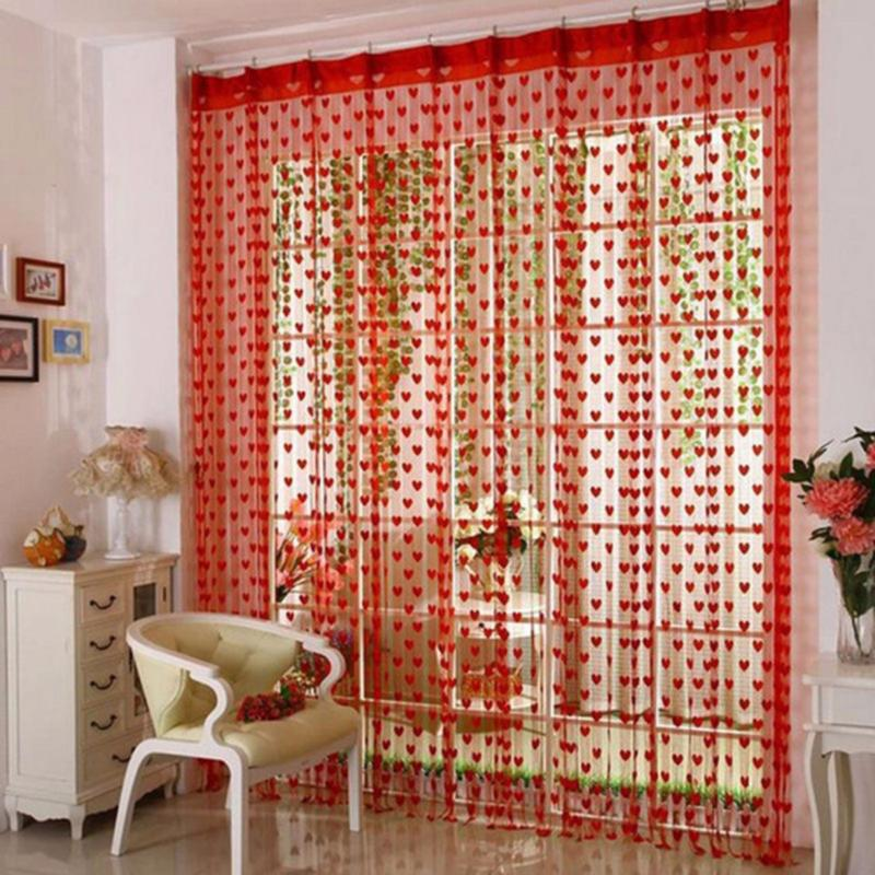 Rèm cửa, rèm cửa sổ trang trí nhà cửa, rèm cửa trái tim độc đáo, chất liệu vải cotton mềm mại có kích thước 186cmx100cm