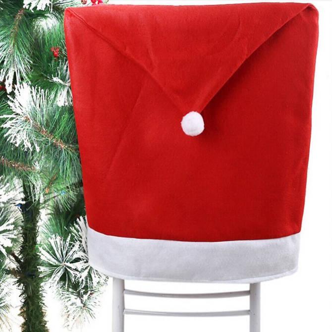 Hình ảnh Santa Claus Clause Hat Chair Covers Set of 2 Decor