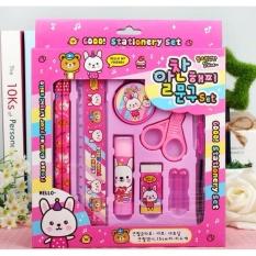 Set 10 Dụng Cụ Học Tập Hàn Quốc Cho Bé (hồng) By Shop Phu Kien.