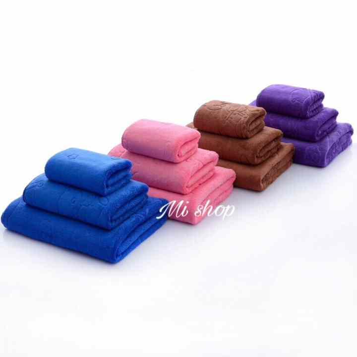 Set 3 khăn rửa mặt,gội,tắm Thái(tím trơn)-To 70x140