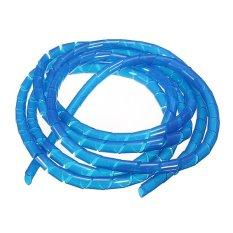 Hình ảnh Spiral Tube Flexible Cord PC Home Cinema Cable Wire Organizer Wrap Management Blue (Intl)