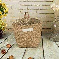 Deal Khuyến Mại Storage Box Jute Cotton Sundries Basket Mini Desktop Storage Bag Style:Yellow Dot - Intl