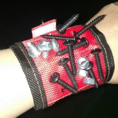 Hình ảnh Strong Magnetic Wristband Wrist Support Bands For Screws Nails Nuts Holder color:red - intl