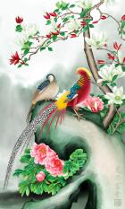 Bán Tranh Dan Tường 3D Khổ Dọc Phong Thủy Đoi Chim Trĩ Ben Hoa Vtc Lunatm 0091 Rẻ Hồ Chí Minh