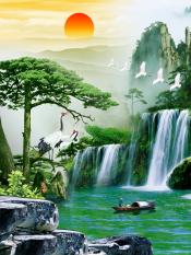 Giá Bán Tranh Dan Tường 3D Khổ Dọc Phong Thủy Tung Hạc Dien Nien Vtc Lunatm 0086 Trong Hồ Chí Minh