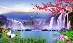 Mua Tranh Dan Tường 3D Phong Thủy Đan Hạc Ben Thac Nước Vtc Lunatm 0043 Kt 150 X 90 Cm Rẻ Hồ Chí Minh