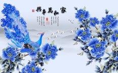 Chiết Khấu Tranh Dan Tường 3D Vtc Hoa Mẫu Đơn Khổng Tước Lunawall 0311 Vtc