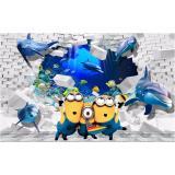 Giá Bán Tranh Dan Tường 3D Vtc Trang Tri Phong Trẻ Em Minion Va Ca Heo Lunate 0083 Nguyên