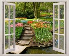 Tranh Dan Tường Cửa Sổ 3D Cảnh Vườn Hoa Vtc Vt0003 Vtc Chiết Khấu 40