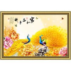 Bán Tranh Dan Tường Phong Thủy Vtc Chim Cong Vang Hoa Mẫu Đơn Lunatm 0164 Kt 130 X 90 Cm Có Thương Hiệu Rẻ