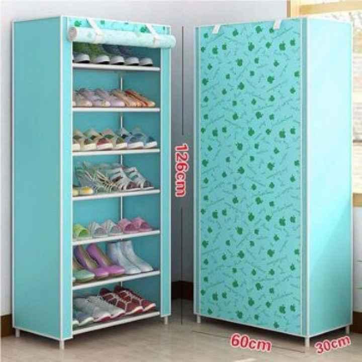 Tủ giày dép 7 tầng bọc vải tiện dụng (Xanh) - Kmart