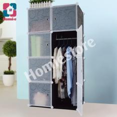 Ôn Tập Tủ Nhựa Lắp Ghep Đa Năng Homie 8 O Tvt8 Đv Đen Cửa Trắng Van Trong Homie