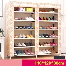 Tủ vải đựng giày dép quần áo hiện đại 6 tầng 12 ngăn họa tiết (Nâu vàng)