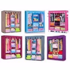 Tủ vải đựng quần áo 3 buồng 8 ngăn (hồng)