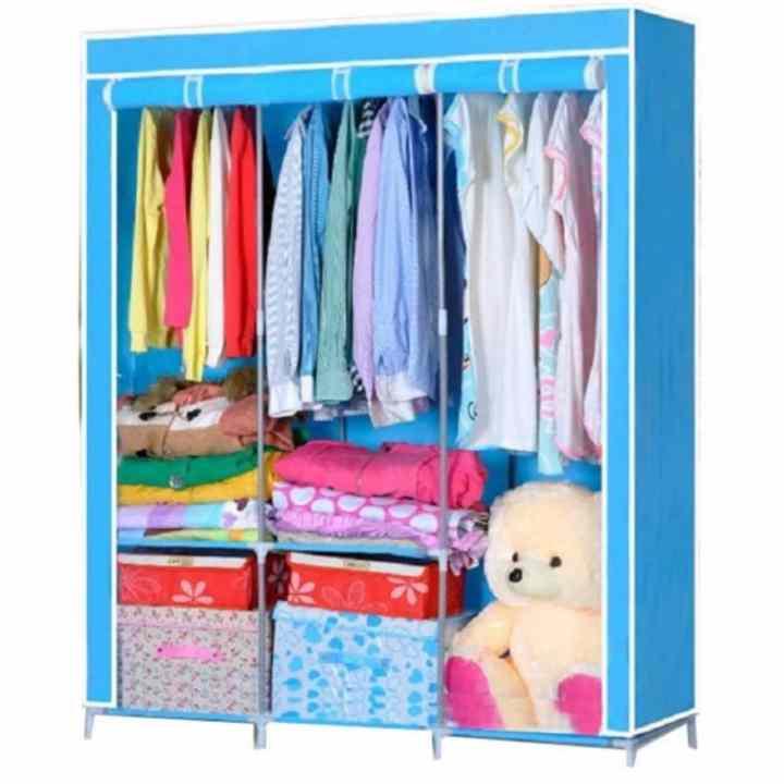 Tủ vải quần áo cỡ đại 3 buồng quần áo B&Q (xanh) - (BQ7-XANH)